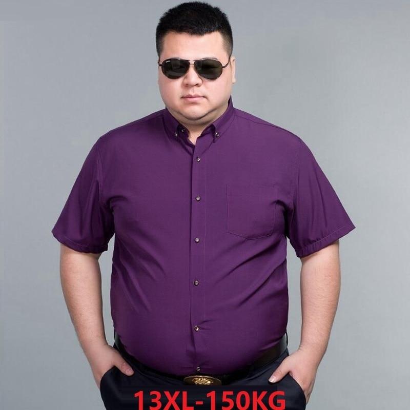 Verão vestido formal dos homens camisa de manga curta negócios 7xl 8xl 9xl alta qualidade tamanho maior 10xl 14xl roxo azul camisa 60 62 64 66
