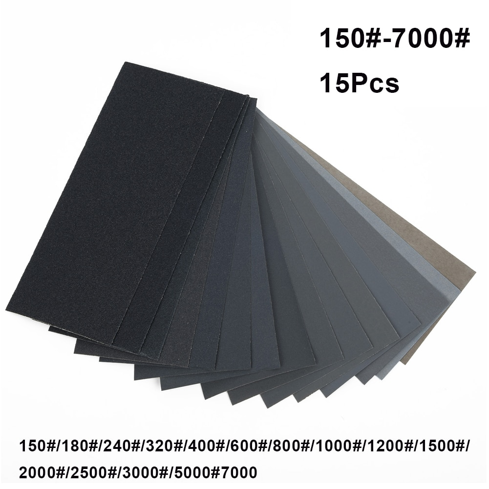 15Pcs Sand Paper Sheets Silicon Carbide Home Coarse 150-7000 Grit Polishing Car Metal Glass Ceramics Wood Sandpaper Wet Dry