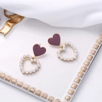 changyi 2021 trend women jewelry earrings love heart shaped simple pearl earrings vintage elegant stud earrings