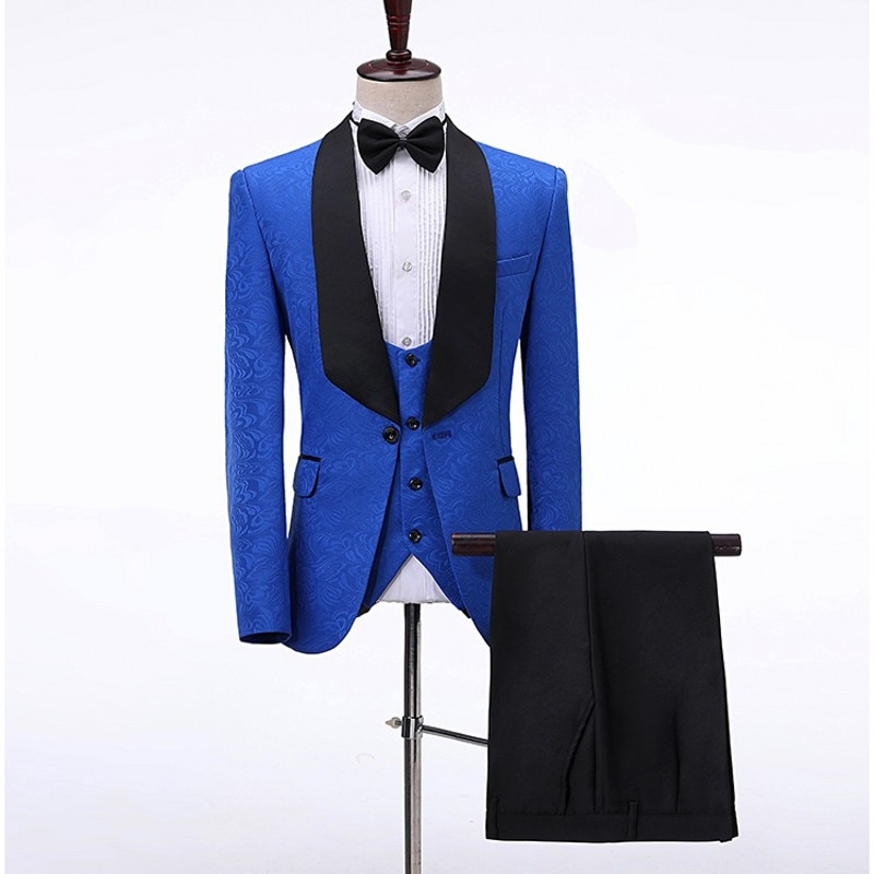 Trajes para hombre, novio esmoquin de azul y negro, chal solapa de Satén padrinos de boda, padrino de boda (chaqueta + Pantalones + chaleco + pajarita) 047