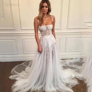 Weilinsha Spaghetti Straps See Through Wedding Dresses 2020 A Line Lace Appliques Bridal Gowns Soft Tulle Vestidos De Novia