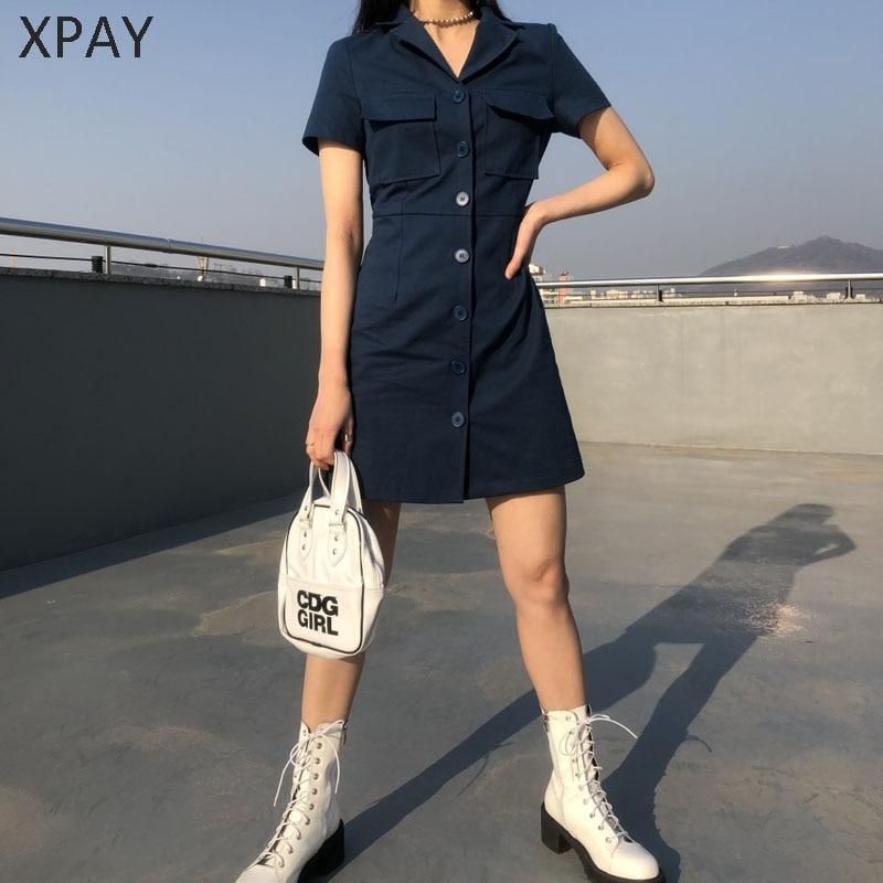 2019 Bodycon Blazer Button Dress Women Cheerart Blue Summer Shirt Dress Office Lady Pocket Mini Dress Korean Style