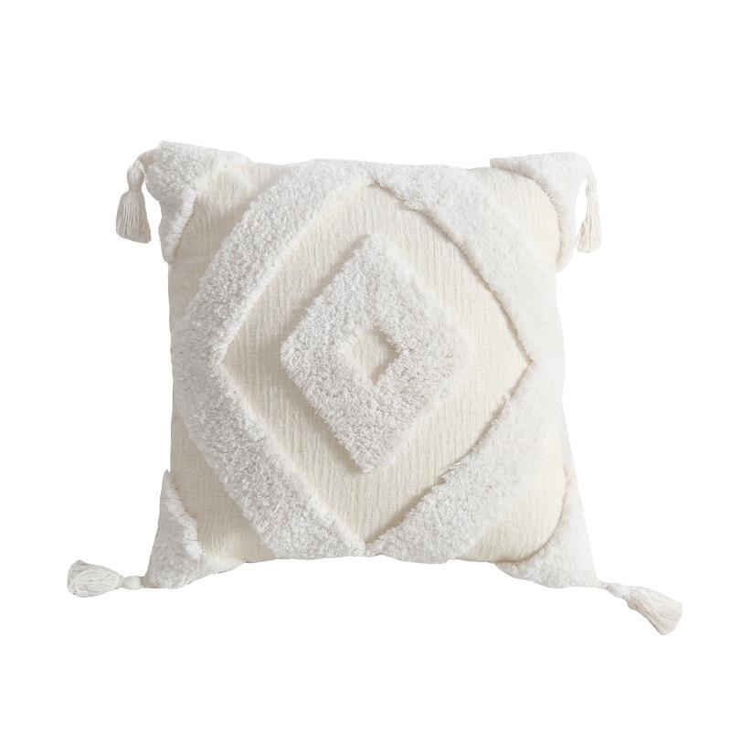Купить с кэшбэком Handmade Cushion Cover with Tassel Boho Moroccan Beige Pillow Cover Square living Room Bed Room Home Decoration