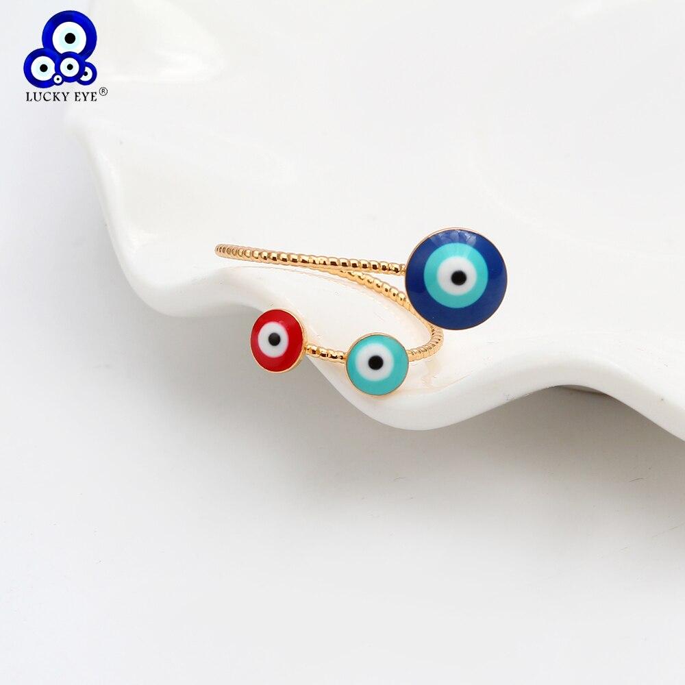 Lucky Eye red blue кольцо от сглаза кольца золотистого цвета кольцо медное Открытое кольцо для женщин женское регулируемое ювелирное обручальное к...