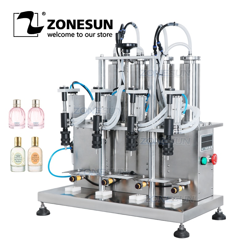 ZONESUN ZS-YTZL500 سطح المكتب شبه التلقائي هوائي فراغ ماكينة حشو العطور السائلة المياه حشوة الزجاجة