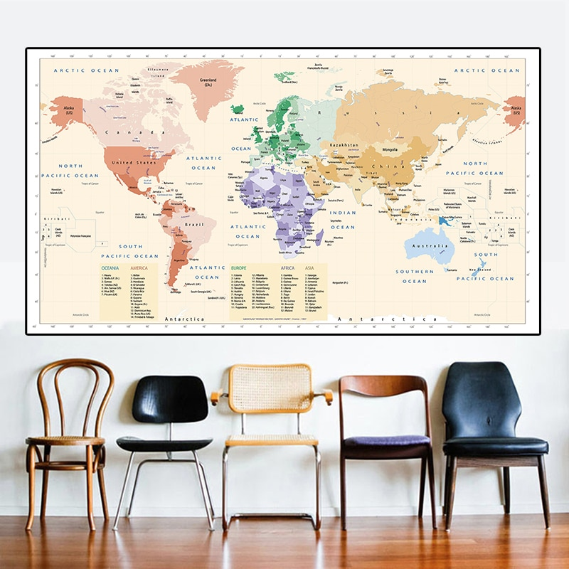 225*150cm The Retro World Map Non-woven Canvas Painting  Wall Art Poster Large Size Card Living Room Home Decoration