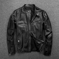 mens single used cotton sheepskin locomotive leather jacket sheepskin jacket slim stand collar