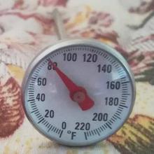 Termómetro de sonda de 0 a 220 grados, termómetro de acero inoxidable para barbacoa, cocina, cocina, termómetro, medidor de temperatura