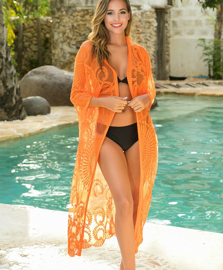 Verano ahueca hacia fuera cárdigans de encaje mujeres sexy bikini kiminos mujer playa vacaciones encaje kimonos