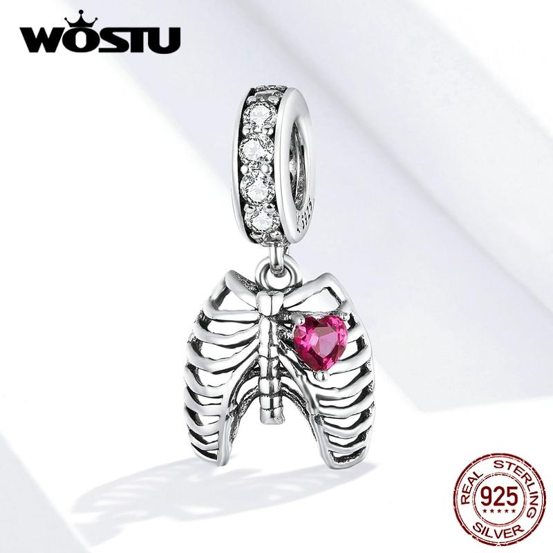 WOSTU Lungs Ribs Chams Real 925 Sterling Silver Fit Original Bracelet Pendant Love oath of ribs Zircon Beads Jewelry FIC1459