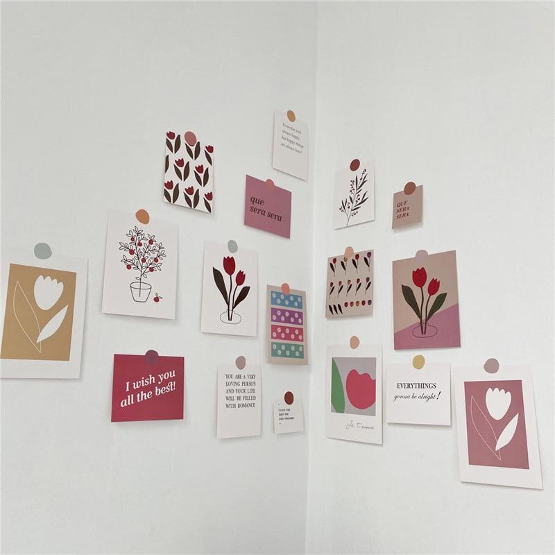 17-fogli-ins-tulipano-decorazione-set-di-carte-cartolina-d'arte-coreano-stile-semplice-fiori-adesivo-murale-fai-da-te-puntelli-fotografici-sfondo