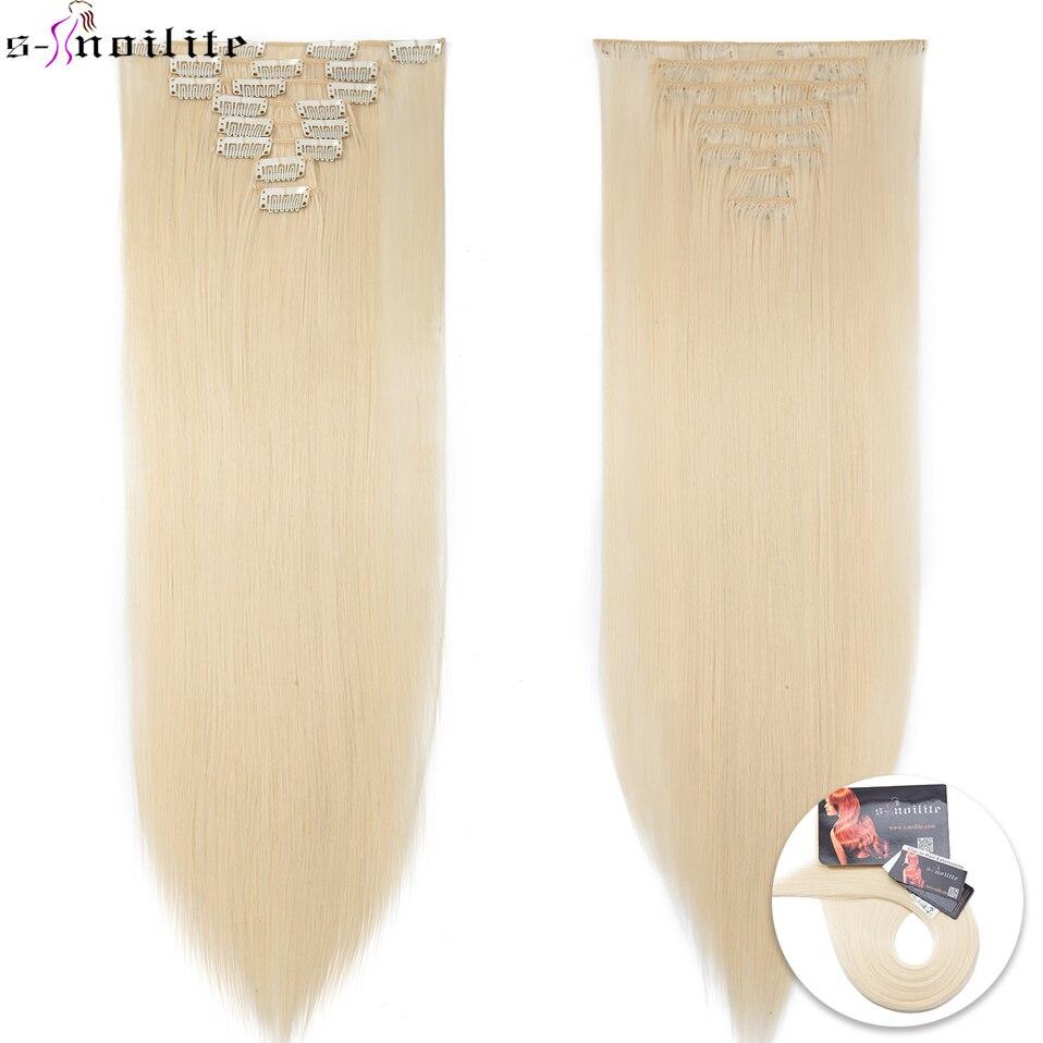 "SNOILITE 8 unids/set 22 ""peluca 175G recta 18 Clips en estilo falso pelo Clip sintético en extensiones de cabello resistente al calor"