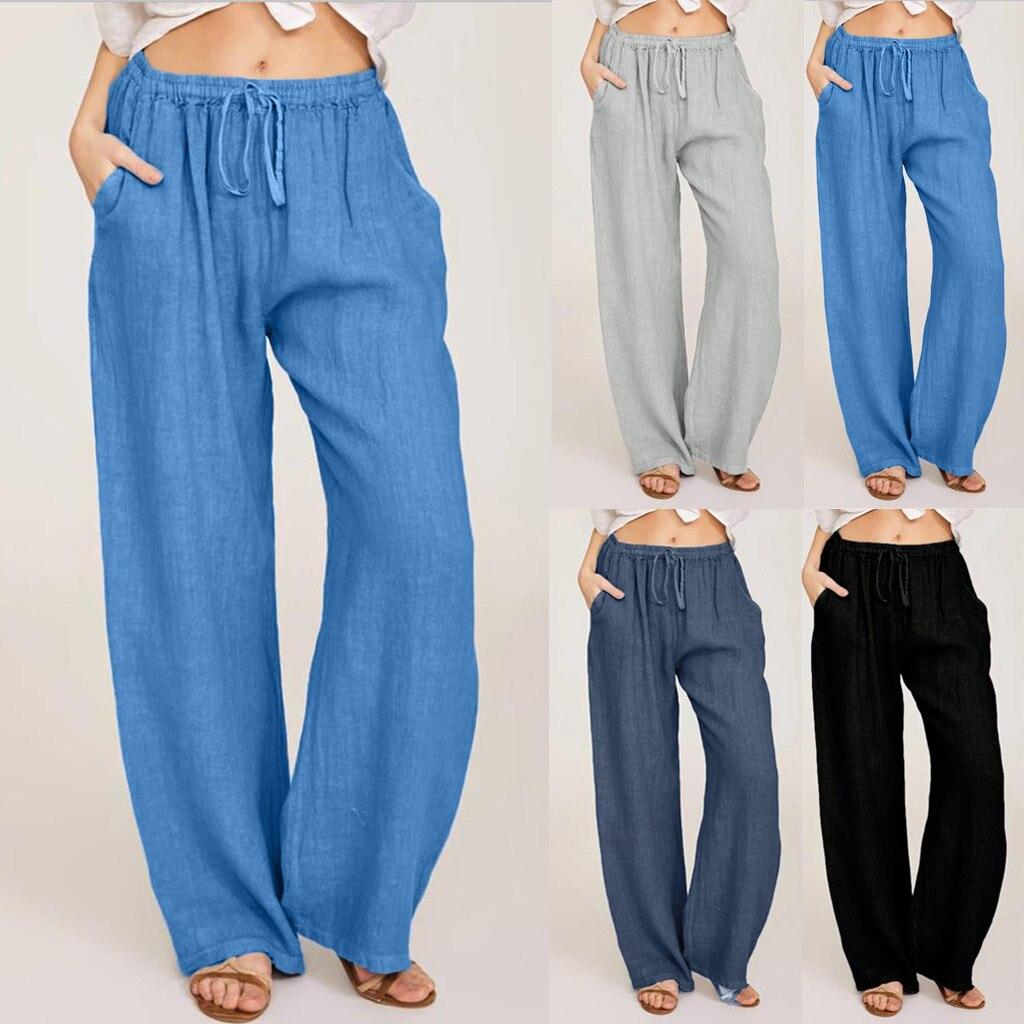 AliExpress - Summer Fashion Pants Plus Size 3xl Women Casual Solid Cotton Linen Pockets Loose Drawstring Elastic Waist Long Wide Leg Trousers