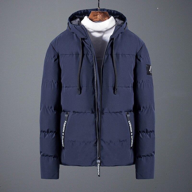 Зимняя мужская одежда с хлопковой подкладкой, Свободное пальто, свободная однотонная шапка для отдыха, Молодежная мужская хлопковая подкла...