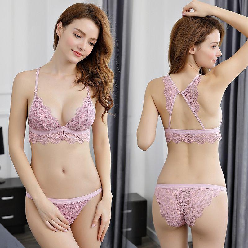 El más nuevo Sexy de encaje 3/4 Set de sujetadores de copa para las mujeres inalámbrico delgada de algodón transpirable cómodo ropa interior de color sólido conjunto de lencería