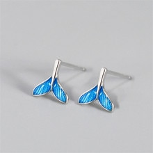 925 Sterling Silver Mermaid Tail Charm Stud Earring For Women Party Jewelry Pendientes Accessories e