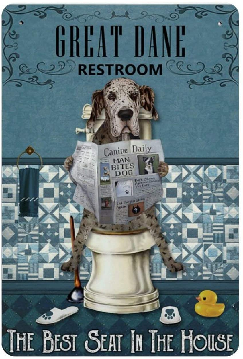 Retro Vintage Metal Sign Reading News Restroom Great Dane Reproduction Metal Tin Sign Wall Decor for Cafe Bar Pub Home