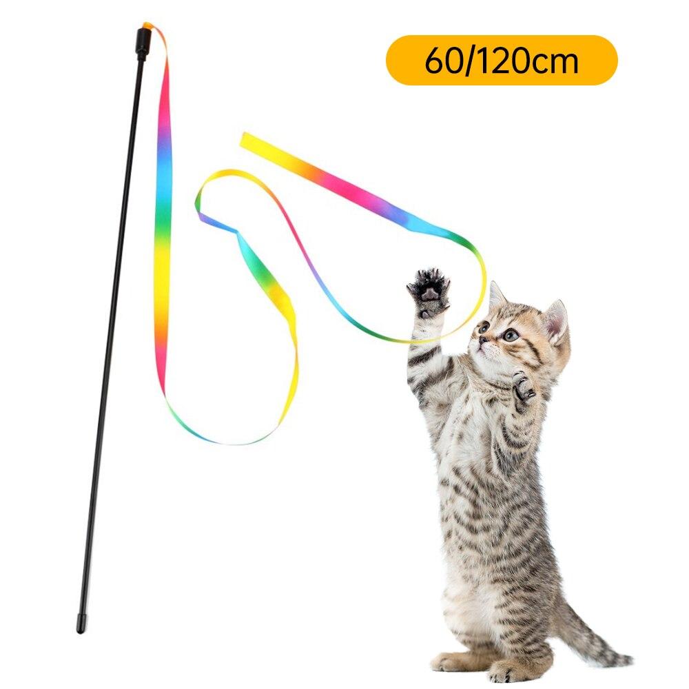 Divertido palo para gato, juguete para mascotas de 60/120cm, juguetes con plumas para gatos, varita de colores, juguetes para gatos, palillo interactivo de plástico, suministros para Gato