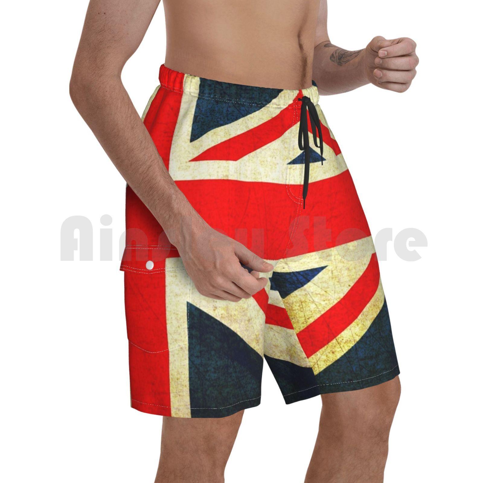 Grunge Effect Union Jack Beach Shorts Men Beach Pants Swimwear Union Jack British Flag Uk England British Expat