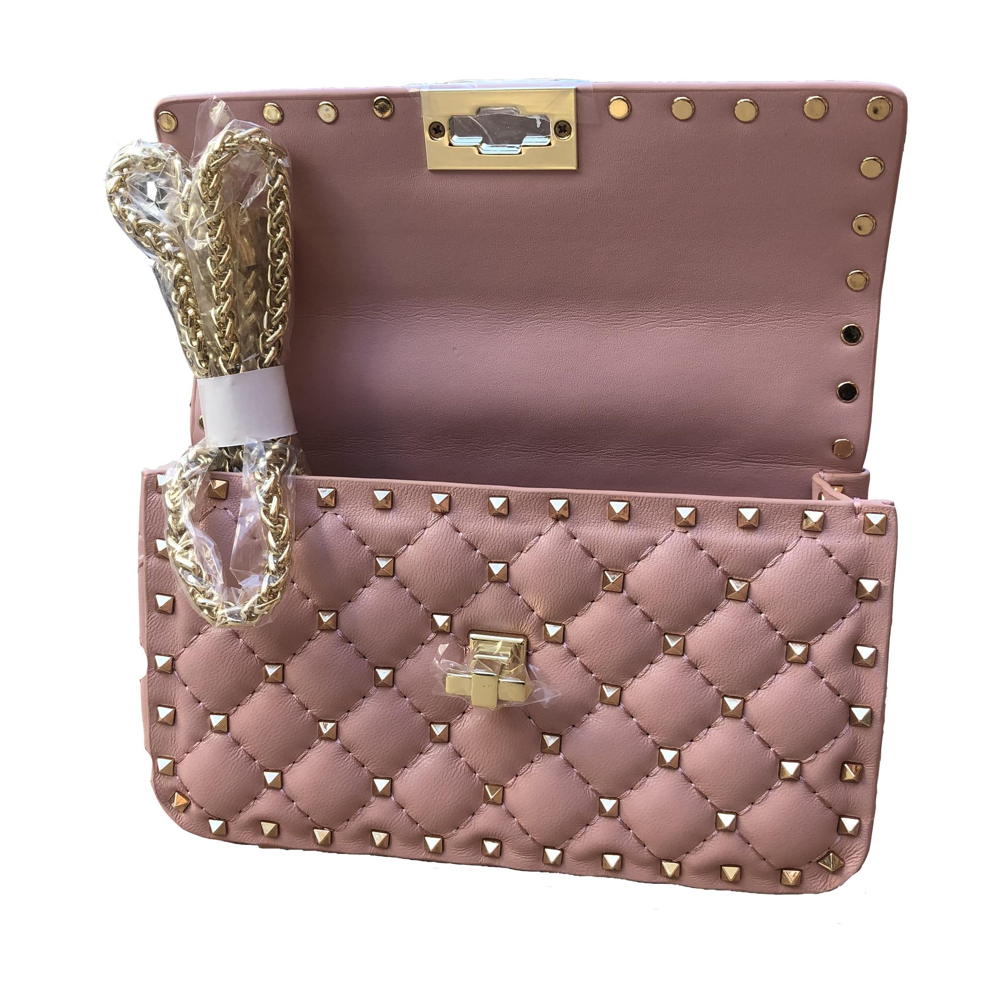 Bolso de cuero genuino para mujer 2020, bolso de hombro de lujo a la moda, cadena bandolera con tachuelas de diseñador, marca Rockstud Spike lady Flap