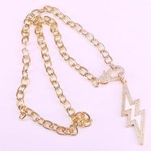 4Pcs New design lightning shape cz necklace,cz clasp component,popular plated necklace