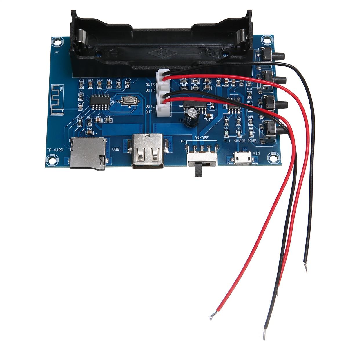 El más nuevo bluetooth V4.0 placas de amplificador de recepción fuente de alimentación módulo amplificador recargable 18650 Placa de amplificador de batería 5W + 5W