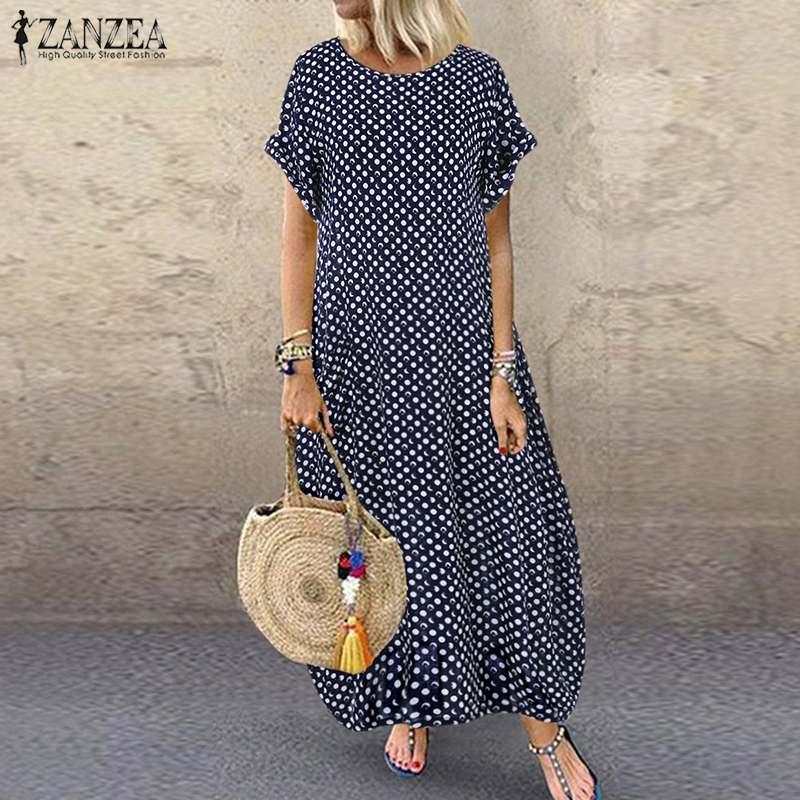 AliExpress - 2021 ZANZEA Summer Vintage Long Dress Polka Dot Sundress Women O Neck Short Sleeve Baggy Kaftan Party Vestido Robe Femininas