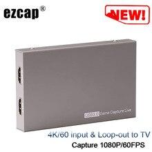 4K 60 P Loop-Out Naar Tv Hdmi Game Video Capture Card Opname Doos Naar Usb 3.0 Computer laptop Pc Live Streaming 1080P 60fps W/Mic