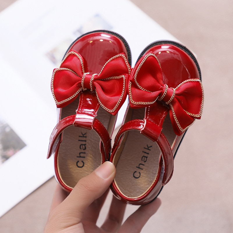 Autumn New Children Leather Shoes Kids Bowknot Little Princess Flat Single Shoes For Wedding Party Dance Performance Shoes Girls girls leather shoes children girls baby princess bowknot sneakers pearl diamond single shoes kids dance shoes newest autumn