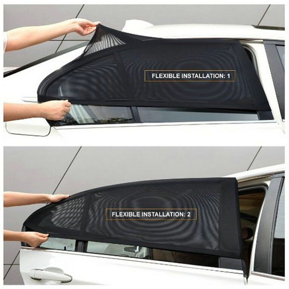 2pcs Window Sunshade Cover Car Shade Rear Side Sun Visor Mesh Shield UV Protector Accessories