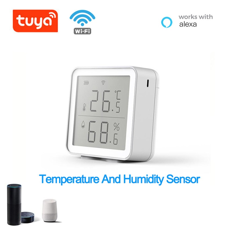 WIFI Tuya Smart Life Temperature Humidity Sensor Built-in Battery Support APP Smart Home Building Automation  LCD Screen Display