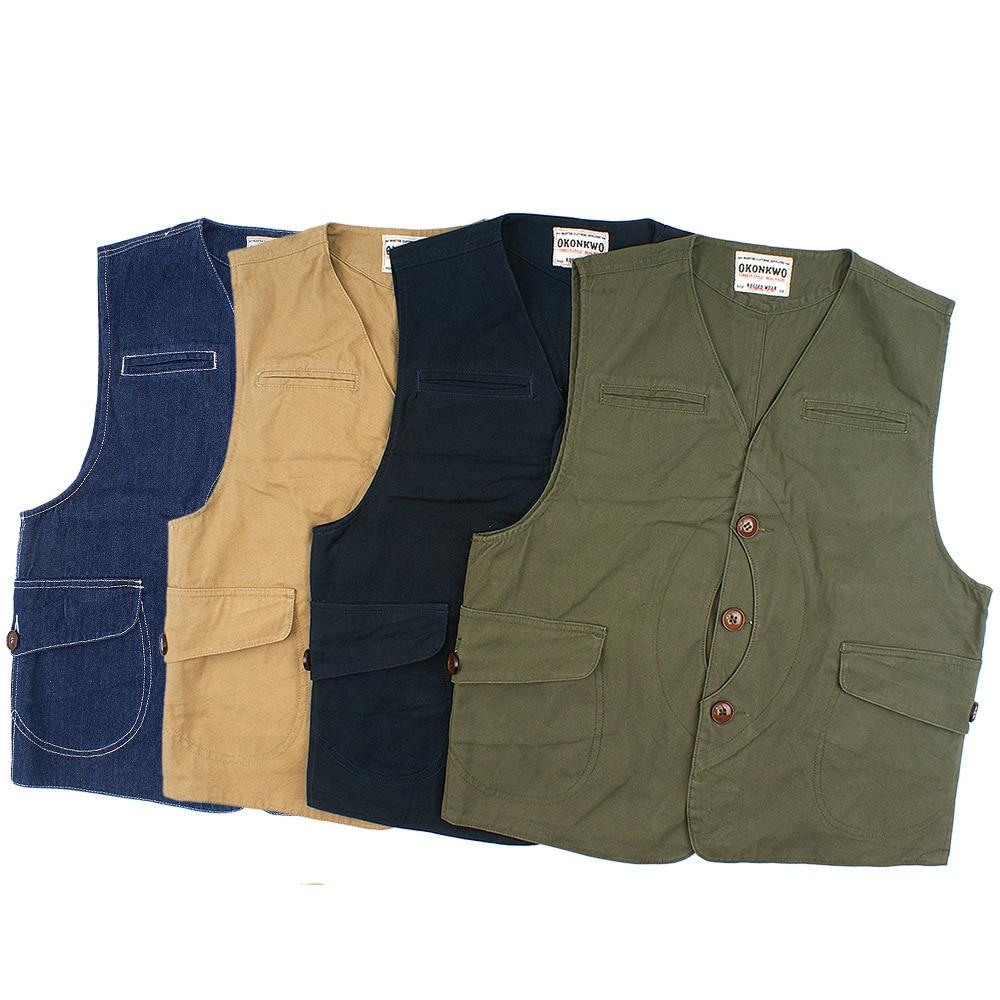 OK8405 سترة قماش البضائع خمر الرجال الشارع الشهير الهيب هوب سليم صالح متعدد جيب زر بلون بسيط الدنيم الأدوات صدرية