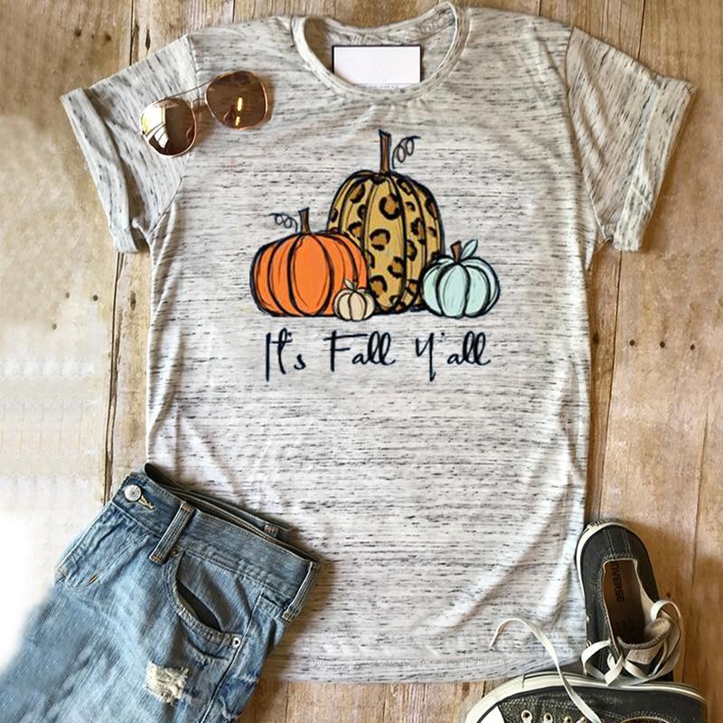 Camiseta Its Fall Ya will, camiseta de calabaza, camiseta de Halloween para mujer, camisetas con estampado de escuadrón de terror, 2019, camisetas de talla grande para acción de gracias para mujer