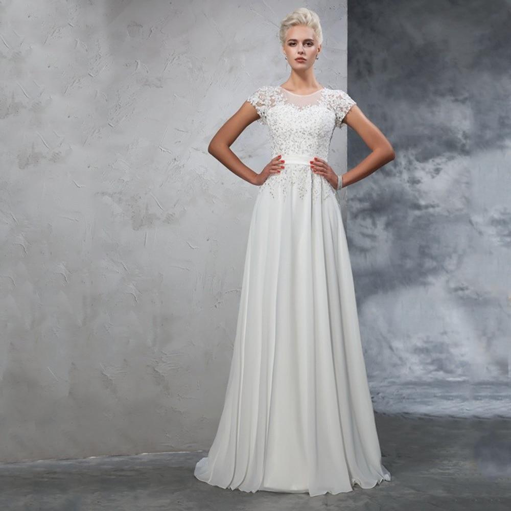 Review White Chiffon Simple Wedding Gowns Sweep Train Floor Length Elegant Bride Bridal Dresses Short Sleeve Button Back Robe De Mariee