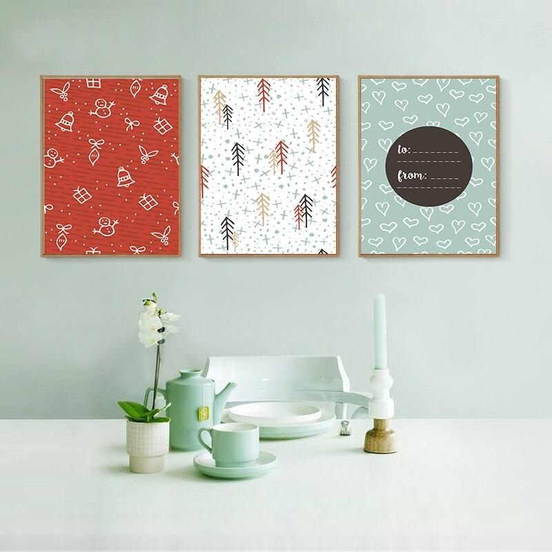 Tarjetas de regalo lienzo árbol de Navidad y campanas cuadro sobre lienzo para pared impresión artística póster imagen moderna decoración del hogar Decoración de la habitación