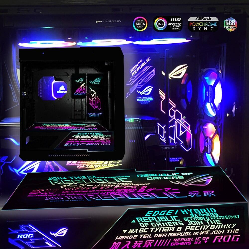 وحدة معالجة الرسومات الجانبية وحدة معالجة الرسومات الخلفية لوحة هيكل لوحة ضوء لتزيين الكمبيوتر التخصيص 5 فولت ARGB/ 12 فولت RGB/ Molex الملونة وزارة ...
