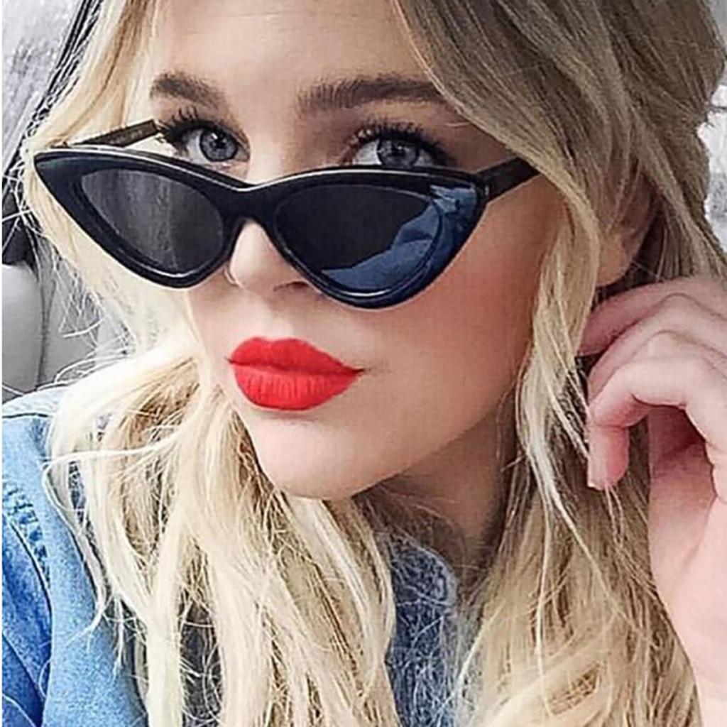 Gafas de sol de ojo de gato sexis para mujer, gafas de sol de marca de diseñador con espejo negro triangular, gafas de sol femeninas para gafas de mujer UV400 #35