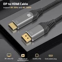 8k displayport to hdmi compatible cable uhd 8k30hz 4k120hz ultra speed 48gbps hdr for projector hdtv dp1 4 to hd2 1 cable