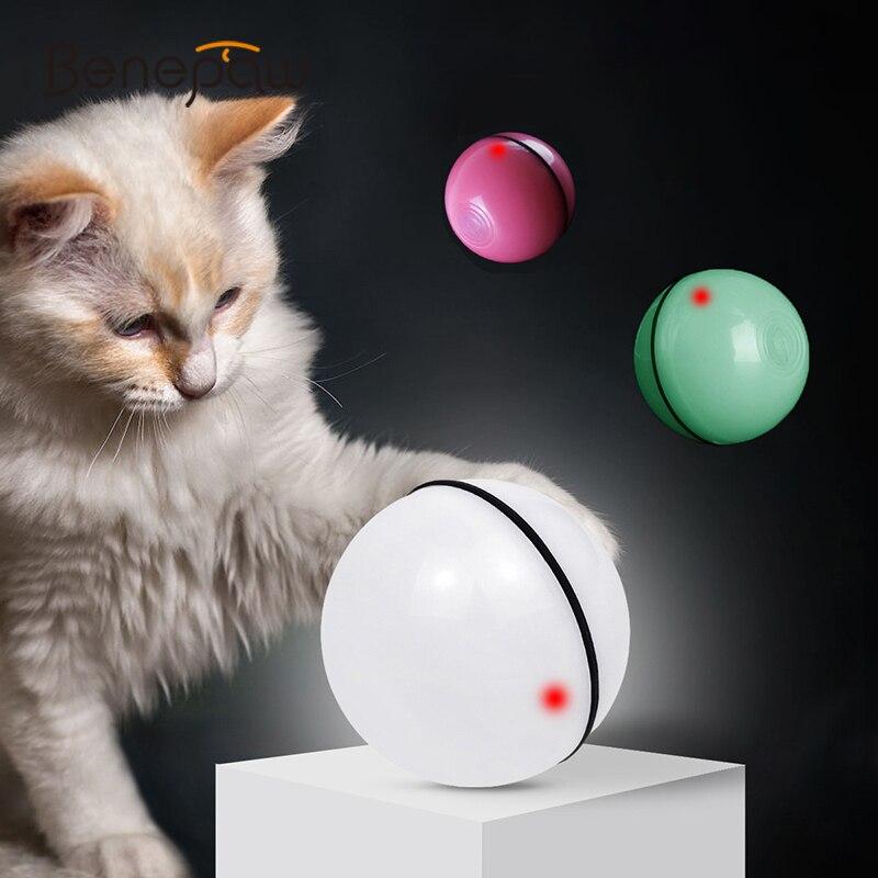 Нетоксичные игрушки для кошек Benepaw Smart, вращающийся на 360 градусов шарик, интерактивная игра для питомцев, котят, светодиодная лампа с usb зарядкой, стимуляция охоты