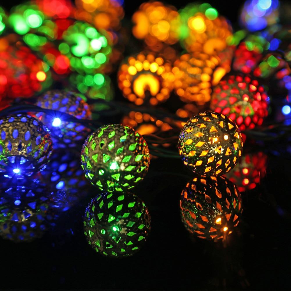 led solar string luz oco marroquino bola lampada de energia solar guirlanda natal