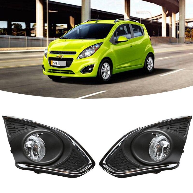 M & C комплект для Chevrolet Chevy Spark 2013-2015 2 шт. Автомобильная Хромированная фара для вождения передний противотуманный светильник в сборе с провода...