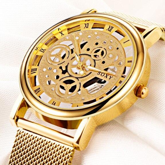 Klassische Mode Männer Uhr Top Marke Kristall Glas Edelstahl Analog Quarz Armbanduhr Armband Mann Geschenk Uhr Reloje