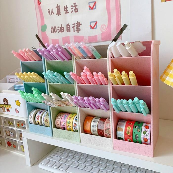 4 Grid Desktop Storage Box Macaron Color Pen Holder Pencil Makeup Brush Lipstick Storage Organizer Simple School Stationery