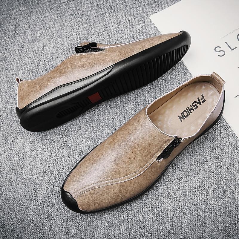 حذاء رجالي كاجوال صيفي ، خفيف الوزن ، مريح ، أسود ، حذاء بدون كعب مع سحاب
