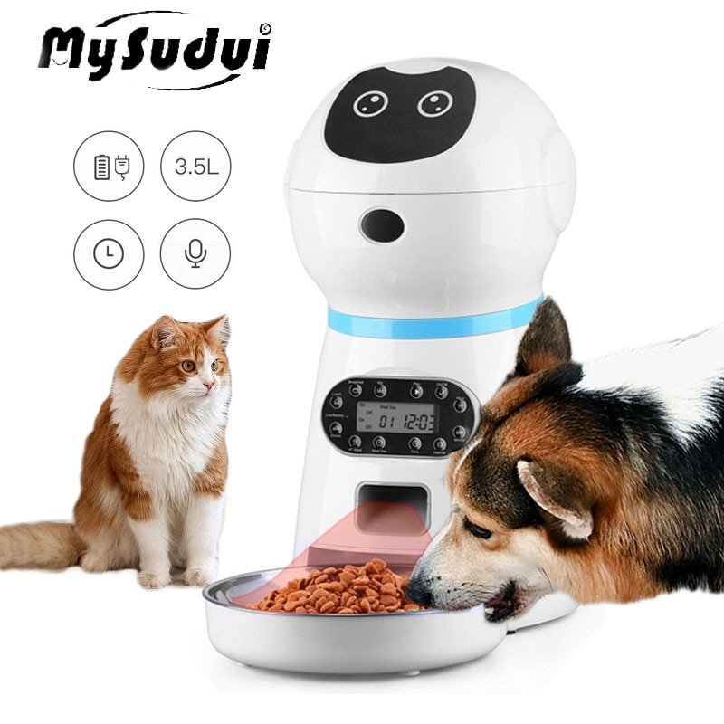 3.5L Smart Automatic Pet Feeder Cat Dog Bowl Voice Recording 4 Meal Stainless Steel Electric Intelligent Timer Food Dispenser