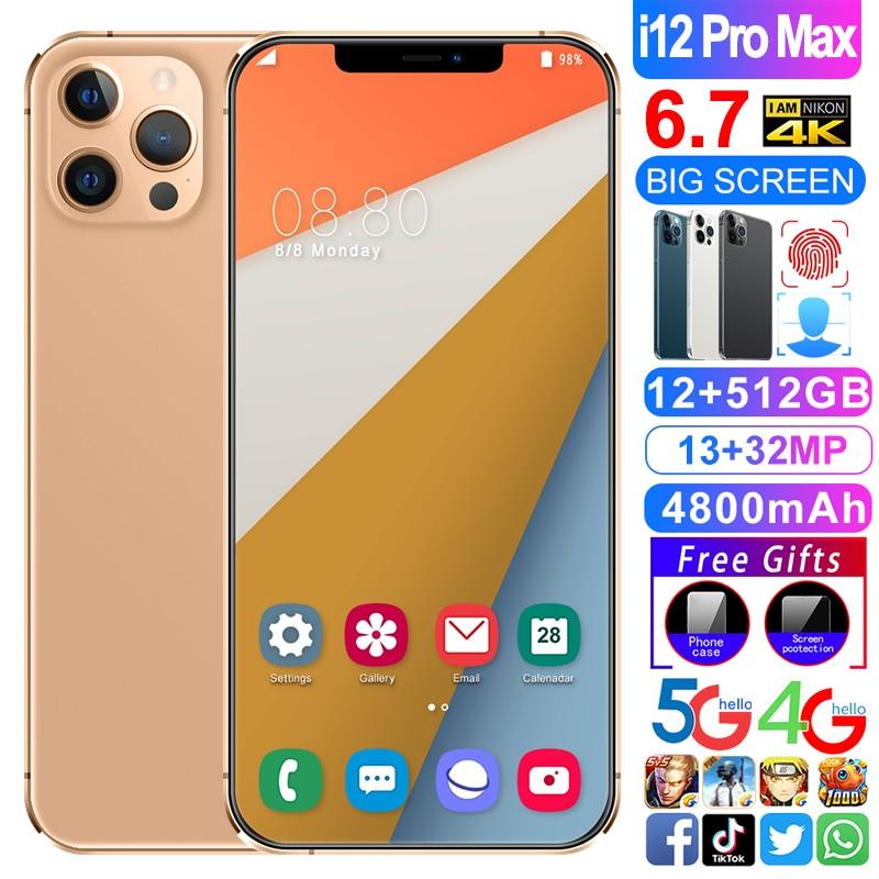 هاتف I12 Pro max بشريحتين شاشتين هاتف محمول عشاري النواة 4800Mah بصمة وجه معرف 12GB + 512GB 13 + 32MP