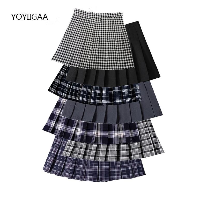 Summer Women Pleated Skirt High Waist Female Plaid Skirts Preppy Style Ladies Girls Dance Mini Skirt Fashion Chic Woman Skirts