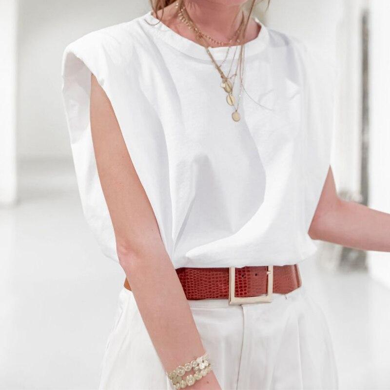 VICABO Women T-shirt Shoulder pad Summer Fashion T Shirt Sleeveless Ladies Top Casual Women's t Shirt Femme Cool Top#w