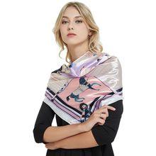 Ladies' Satin Imitate Silk Scarf 90*90cm Large Square Bib Sleep Bandana Elegant Fashion Neckerchief