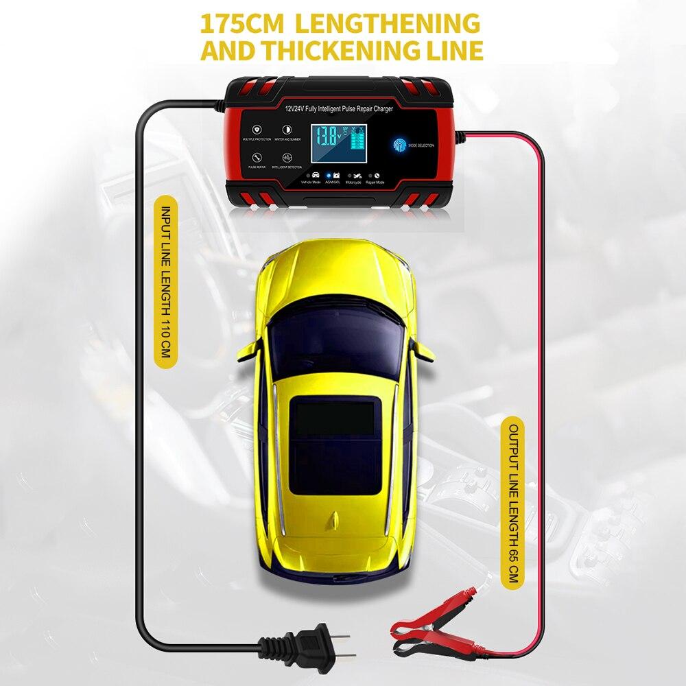 12v 24v rápido carregador de bateria carro da motocicleta pulso reparação carregador com display lcd agm gel molhado chumbo ácido carregador de bateria